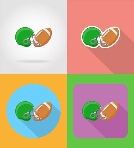 illustrazione di vettore icone piane di football americano
