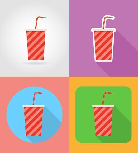 Soda in einem Fast-Food-flache Ikonen der Pappbecher mit der Schattenvektorillustration