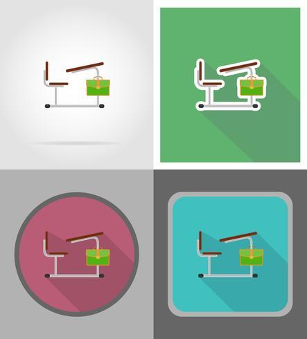 skola skrivbord platt ikoner vektor illustration