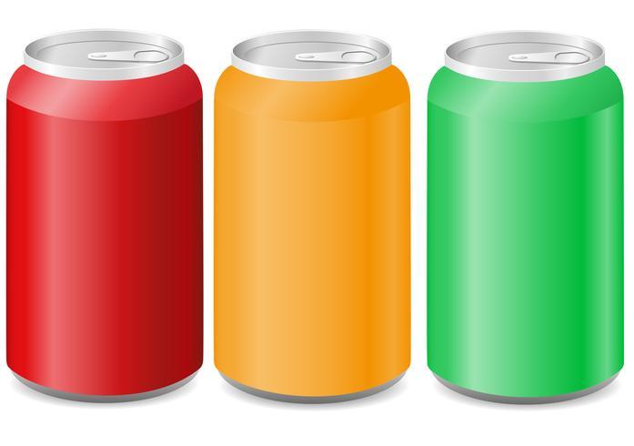 Latas de aluminio de colores con soda. vector