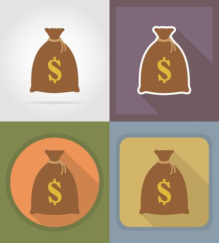 bag of money winnings at the casino flat icons vector illustration