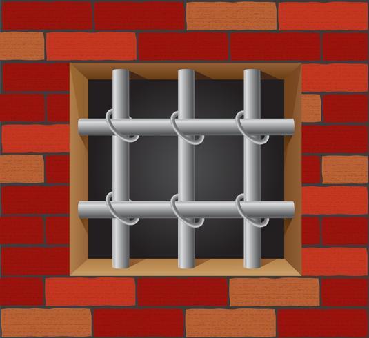 Barras de prisión en vector de pared de ladrillo