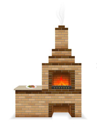 forno de churrasco construído de ilustração vetorial de tijolos