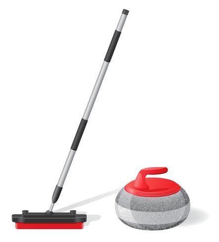 balai et pierre pour curling illustration vectorielle de sport jeu