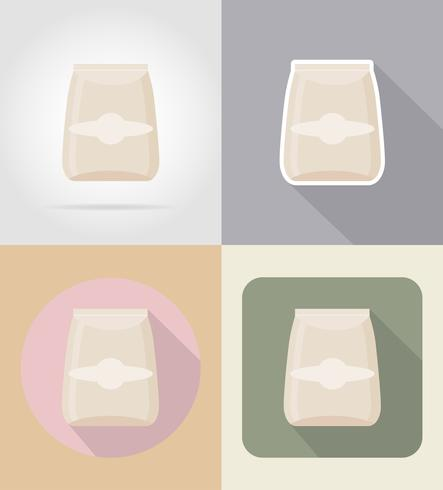 packaging for products food and objects flat icons vector illustration