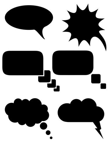 set ikoner talbubblor drömmar svart silhuett vektor illustration