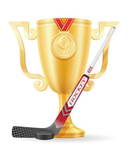 hockey cup winnaar gouden voorraad vector illustratie