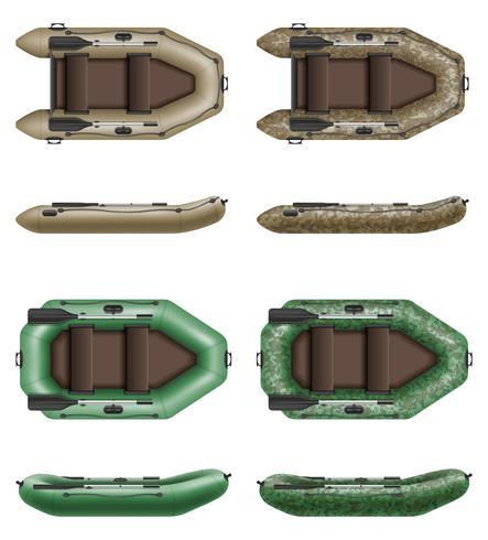 Bote inflable de goma para la pesca y el turismo ilustración vectorial