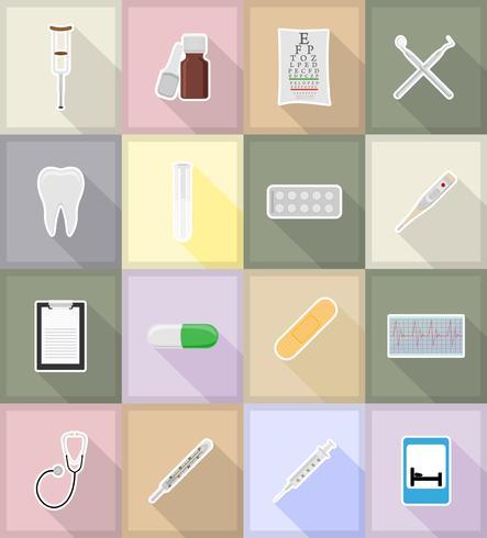 illustrazione piana delle icone degli oggetti medici e delle attrezzature