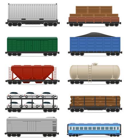 Stel pictogrammen spoorwagon trein vectorillustratie