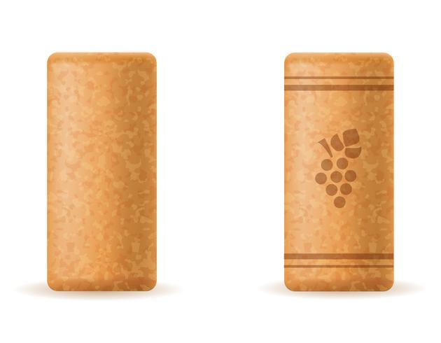 corcho de corcho para la ilustración de vector de botella de vino