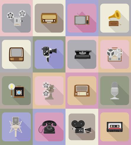 Ilustración de vectores de iconos planos multimedia vintage retro antiguos