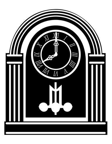 relógio velho retro vintage ícone estoque vector ilustração preto contorno silhueta