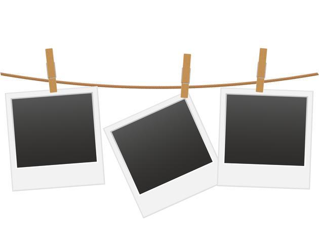 Retro- Fotorahmen, der an einem Seil mit Wäscheklammervektorillustration hängt vektor