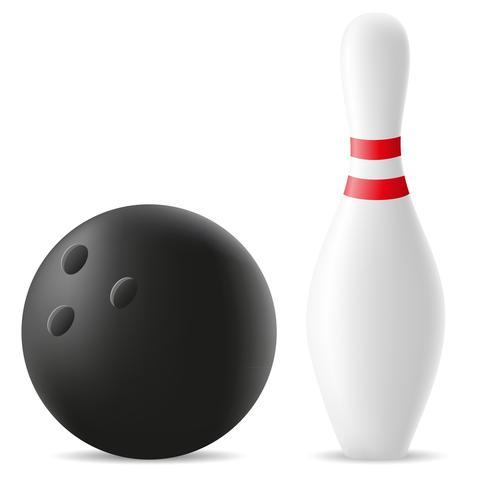 bowling bal en kegel vectorillustratie