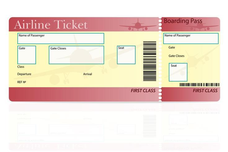 Ilustración de vector de primera clase de billete de avión