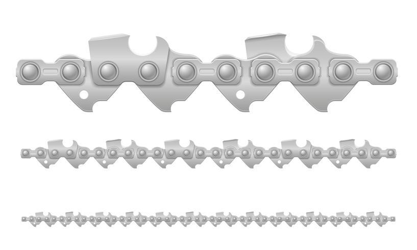 métal de chaîne de tronçonneuse et illustration vectorielle aiguisé