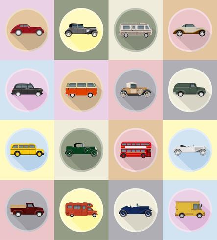 viejo transporte retro iconos planos vector illustration