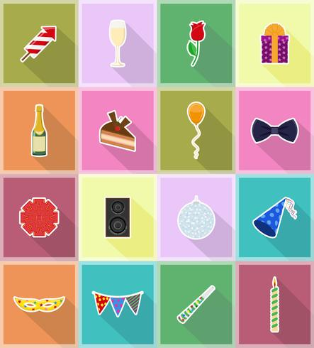 celebraciones set iconos planos vector illustration