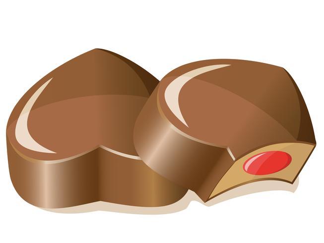 bombons de chocolate como um coração