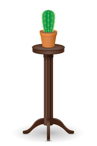 stand for flowerpots furniture and cactus vector illustration