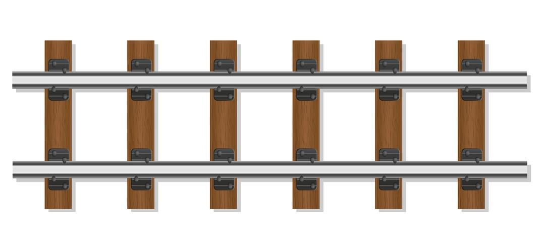 rieles de ferrocarril y durmientes de madera vector ilustración