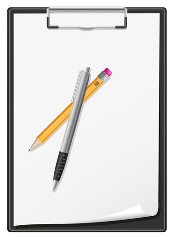 Urklipp tomt papper penna och penna vektor illustration