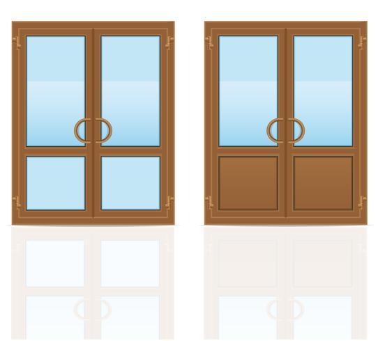 Puertas transparentes de plástico marrón vector illustration