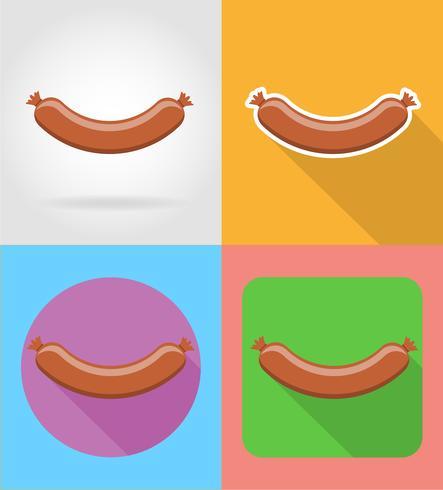 salsicha frita fast-food ícones planas com a ilustração do vetor de sombra