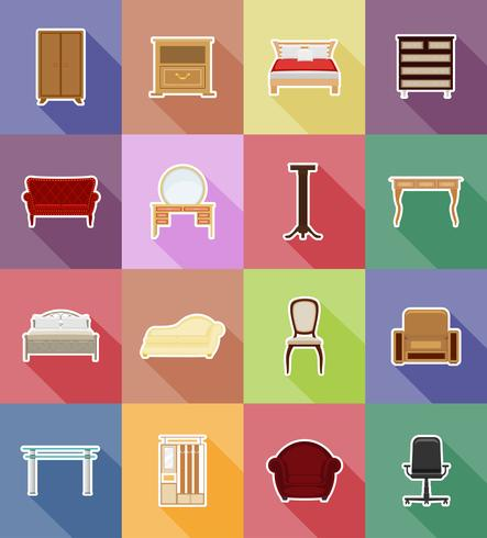 conjunto de muebles iconos planos vector illustration