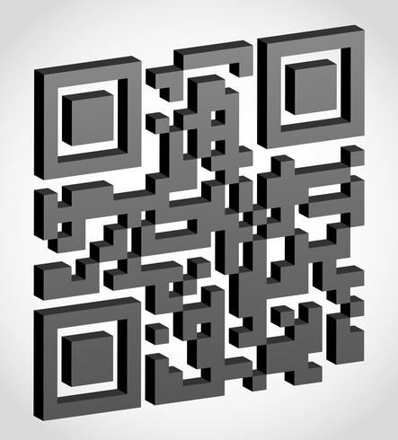 codice qr astratto visivamente illustrazione vettoriale effetto 3d