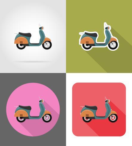 retro scooter platt ikoner vektor illustration