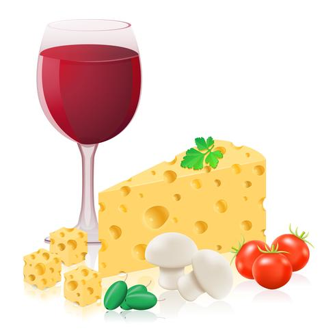natureza-morta com queijo e ilustração vetorial de vinho