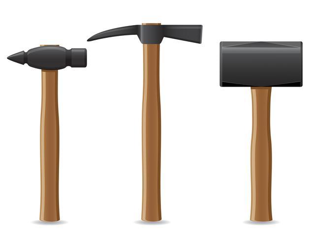 martelo de ferramenta com ilustração vetorial de punho de madeira