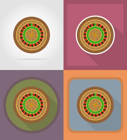 roulette casino objects and equipment flat icons illustration