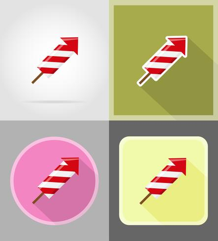 Fuegos artificiales para la celebración de iconos planos vector illustration