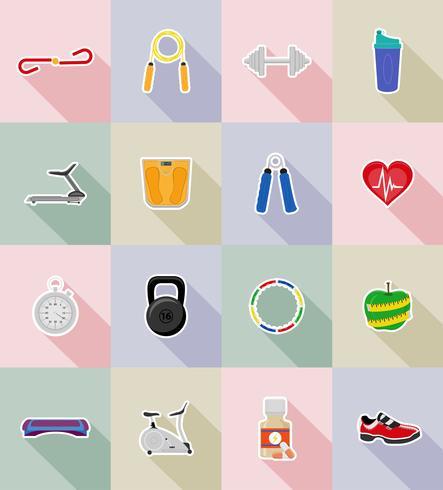 Ilustración de vector de iconos plana fitness