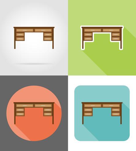 mobília de mesa set ilustração em vetor ícones plana