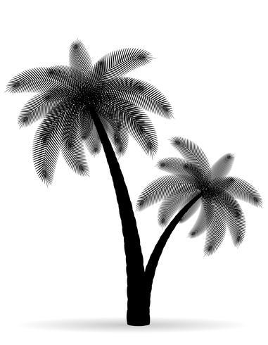 Ilustración de vector de silueta de contorno negro de árbol de Palma