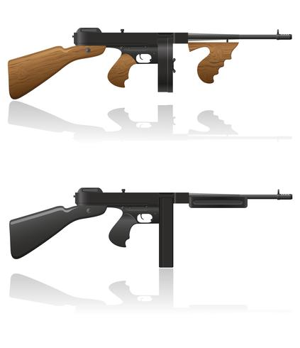 gangster gun Thompson vector illustration