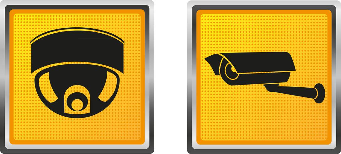 ikoner videoövervakningskamera för design vektor illustration