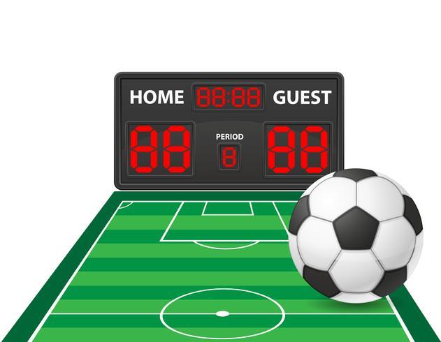 illustrazione di vettore del tabellone segnapunti digitale di sport di calcio di calcio