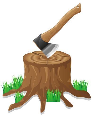 axe in the stump vector illustration