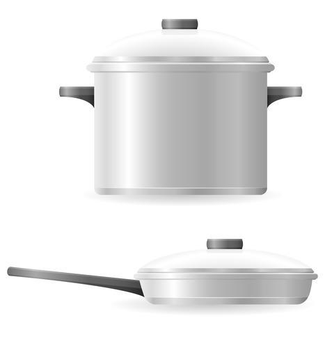 illustration vectorielle de pots et casseroles vaisselle