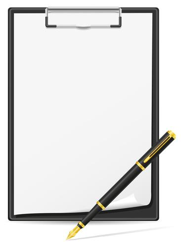 clipboard blank sheet of paper and pen vector illustration