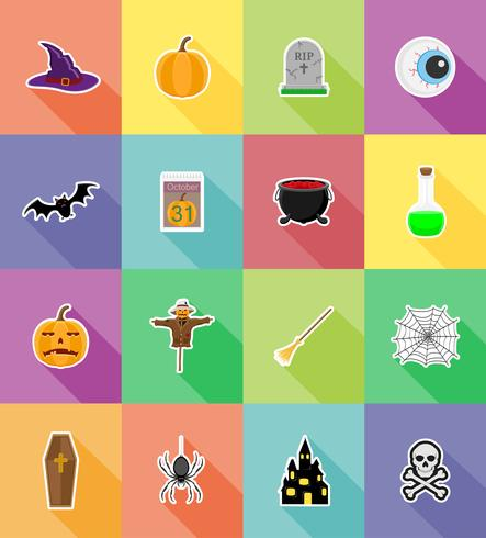Halloween iconos planos vector illustration