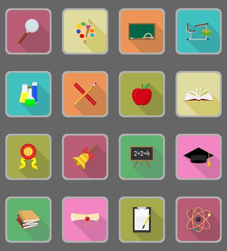 Ilustración de vector de iconos planos de educación escolar