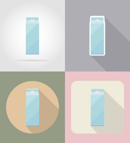 illustrazione piana di vettore delle icone piane della bevanda e degli oggetti d'imballaggio del latte