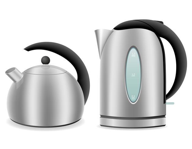 électrique et bouilloire pour illustration vectorielle cuisinière à gaz
