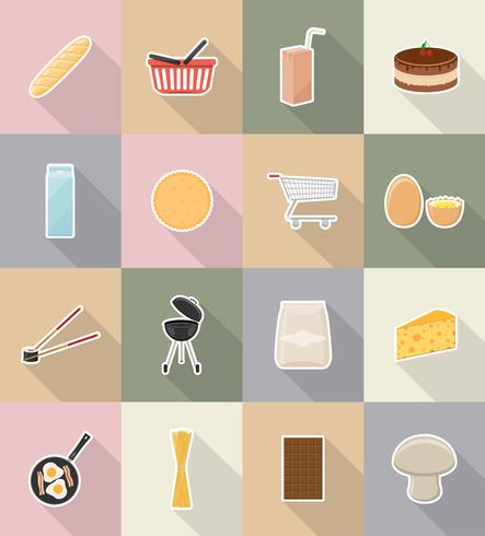 food and objects flat icons vector illustration